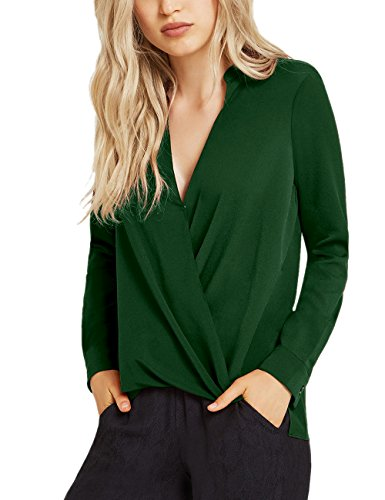 Dohia Women's Casual V Neck Chiffon Blouses Long Sleeves Loose Tops Wrap Front Surplice Shirt C2614 (XL, New Green)