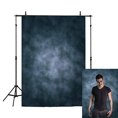 Allenjoy 6.5ft(W) x10ft(H) Polyester Professional Abstract Photography Backdrops Collapsible Washable Dark Blue Photography Old Master Portrait Photo Background for Pictures