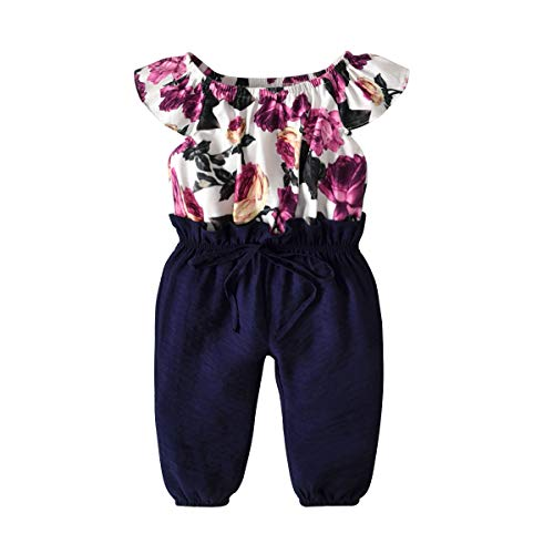 - Infant Toddler Baby Girls Jumpsuit Flower Patterm Top Long Pants Easter Clothes Bodysuit Overalls Spring Summer Outfit Set (Flower Patterm Top and Navy Blue Pants, 3T - 4T)