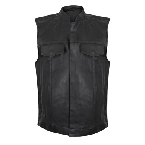 USA 1205 Leather Mens Combat Gun Pocket Vest - Small