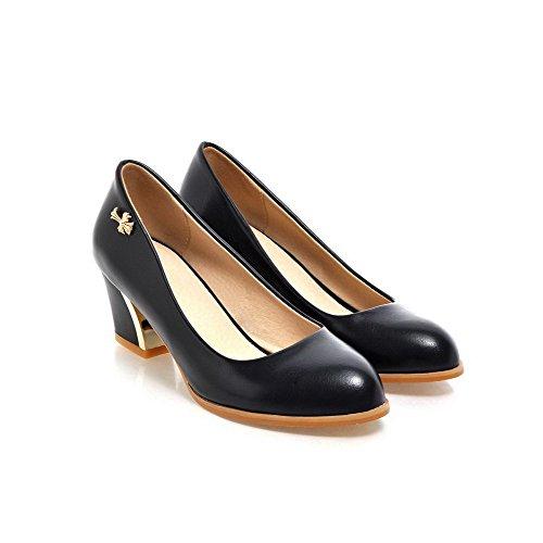 Allhqfashion Femmes Bout Rond Fermé Toe-talons Pu Pompes-chaussures Avec Ornement En Métal Noir