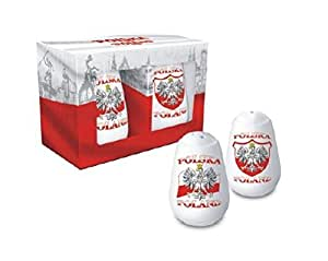Polska Poland Salt & Pepper Shaker Set - Eagle Emblem & Flag of Poland