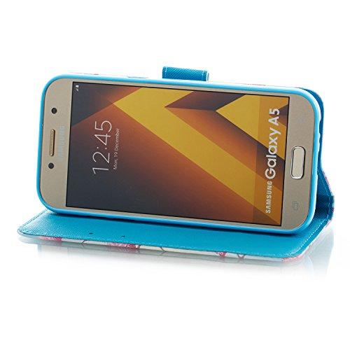 Samsung Galaxy A3 2017 PU Cuero Funda, Vandot 3D Bling Rhinestones Mariposa Shell TPU Inner Bumper Case Funda con Billetera Tapa Holster Cierre Magnético Tarjeta Ranura Carcasa Teléfono Concha Bolsa C SZCH-2