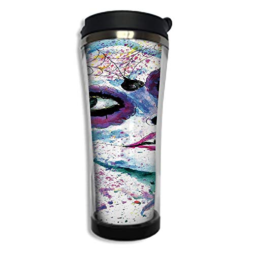 Customizable Travel Photo Mug with Lid - 14.2OZ(420 ml) Stainless Steel Travel Tumbler, Makes a Great Gift by,Girls,Grunge Halloween Lady with Sugar Skull Make Up Creepy Dead Face Gothic Woman Artsy,B ()
