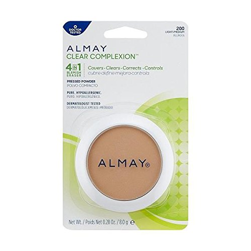 Almay Clear Complexion 4 in 1 Blemish Eraser, Pressed Powder Light/Medium [200] 0.28 oz Almay Clear Complexion Powder