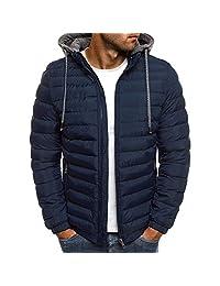 Puimentiua Men's Ultralight Packable Hooded Down Jacket Windproof Warm Puffer Down Coats.