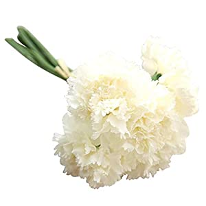 MARJON FlowersSilk Carnation Flower 1 Bunch 6 Heads Artificial Flowers for Home Decoration Accessories Gift Box Fake Flower - White 100