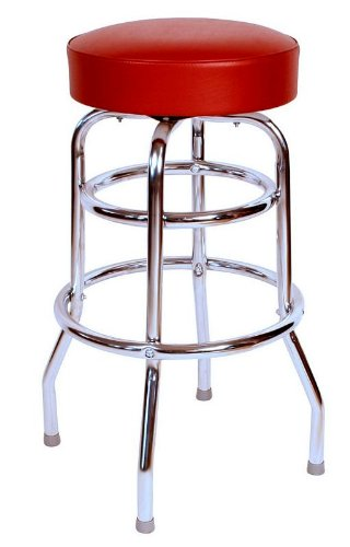 Budget Bar Stools 0-1952WIN Commercial Grade Restaurant Swivel Bar Stool, 17'' L x 17'' W x 30'' H, Red