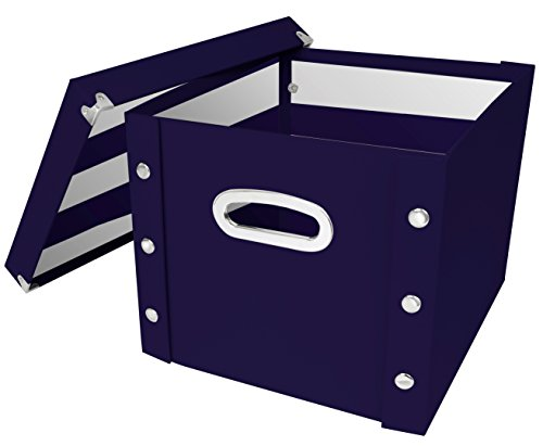 Snap-N-Store Storage Box with Lid, Assembled - 10 H x 12.25 W x 13 L Inches, Navy (SNS03332) (Box Collapsible Ideastream File)