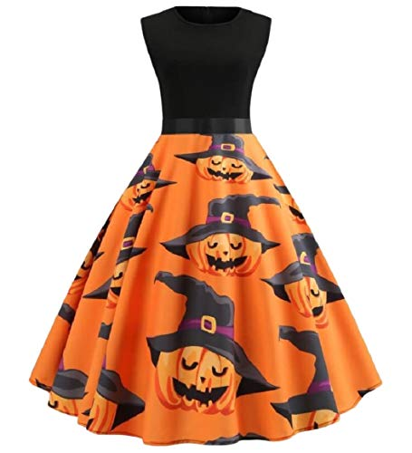 RDHOPE-Women Halloween Vintage Smocked Waist Cocktail Swing Dresses XS -