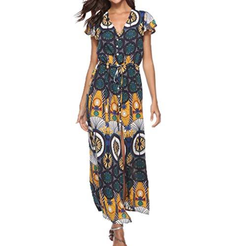 Women Button Up Empire Waist Lace Up Dresses V Neck Print Shourt Sleeve Casual Party Beach Summer Dress (Multicolor, 3XL)