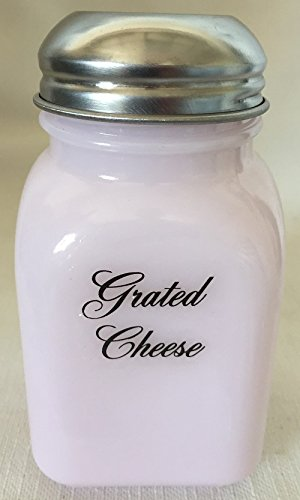 (Square Stove Top Spice Shaker Jar - Mosser USA - Crown Tuscan Pink Milk Glass (Grated Cheese))