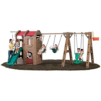 298f6cfb3213 Step2 Naturally Playful Adventure Lodge Play Center Swing Set with Glider