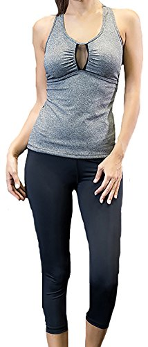 Price comparison product image Sister Amy Women's Solid Sports Athletic Yoga V-Neck Vest and Capri Set Gray/Black US 8