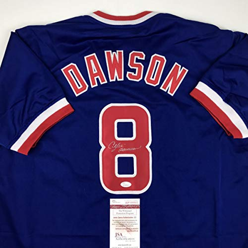 Autographed/Signed Andre Dawson Chicago Blue Baseball Jersey JSA COA ()