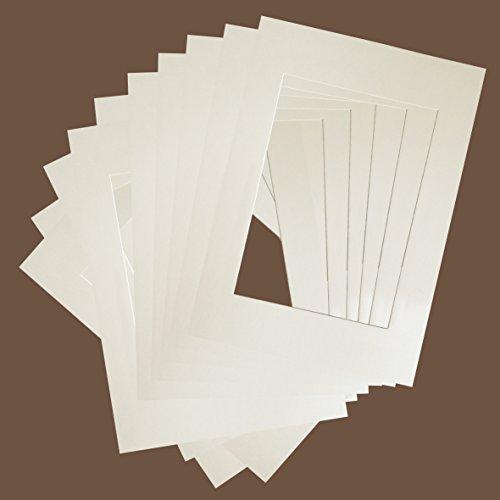 10er Packung Elfenbein / Creme Farbe Premium-Passepartouts - Standard-Größen (AM: A3 / ZS: A4)