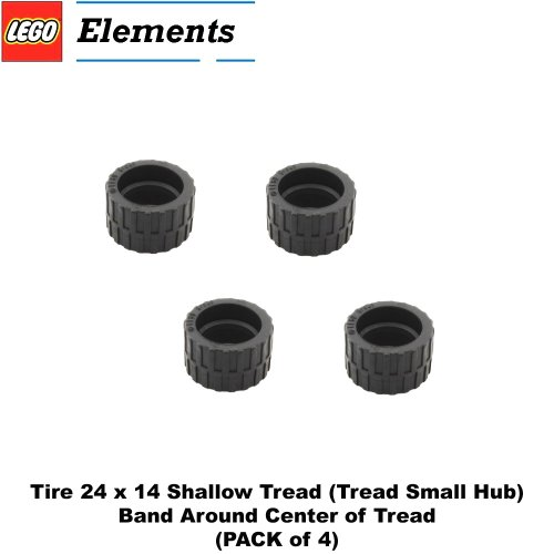 Lego-Parts-Tire-24-x-14-Shallow-Tread-Tread-Small-Hub-Band-Around-Center-of-Tread-PACK-of-4