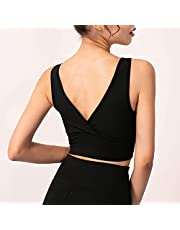 Staright Women Sports Bra Yoga Running Workout Fitness Vest Deep V Back Padded Non-Wire Crop Tops for Gym Home