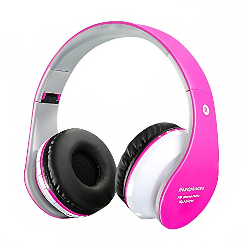 Wireless Bluetooth Headphones Wired Foldable Ajustable Headset,Noise Reduction Cancelling, Stereo On Ear headphones Built-in Microphone For Phones Computer For Kid/Boy/Girl/Teen/Family-Pink