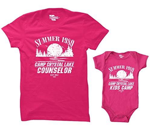 Camp Crystal Lake Counselor/Camp Crystal Lake Kids Camp Matching Bodysuit & Women's T-Shirt (Pink/Hot Pink, X-Large/12 Months) ()