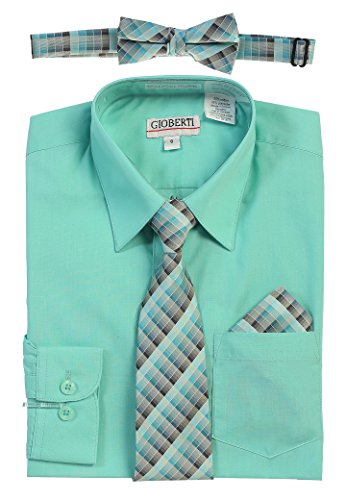 Gioberti Boy's Long Sleeve Dress Shirt and Plaid Tie Set, Mint, Size 5