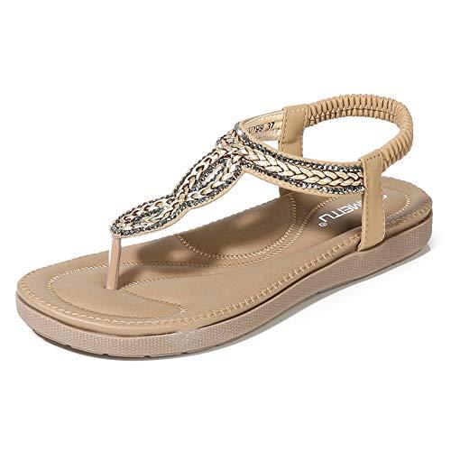 (Wollanlily Women's Bohemian Rhinestone Flat Sandals Summer Beach T-Strap Elastic Flip Flop Thong Shoes(8 B(M) US,Beige 02) )