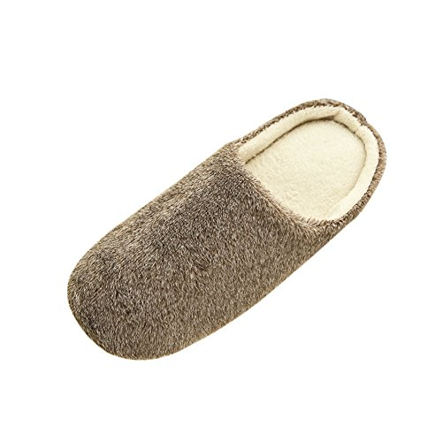 Wingogo Slip On Plüsch-Fleece-Slipper Indoor Anti-Rutsch-Pantoffeln flache Low Heel Winterschuhe Waschbar Komfort