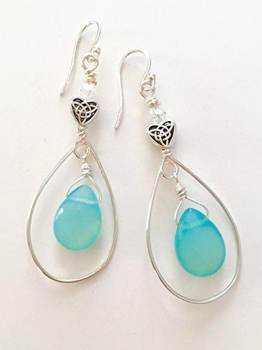 Briolette Hoop Crystal Earrings (Aqua Chalcedony Earrings, Chalcedony Gemstone Earrings, Aqua Briolettes, Swarovski Crystal Gemstone Earrings, Sterling Silver Hoops, Wire Wrapped Gemstones)