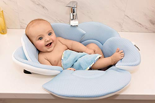 Soothing Company - Baby Bath Pillow - Infant Tub Cushion, Quick Drying Mat for Infant Bathing (Blue)
