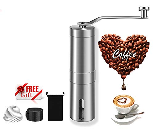 Manual Coffee Grinder, Perfect Portable Conical Burr Mill for your life, 2 Conical Ceramic Burr for Precision Brewing, Silicone grip for better Store, double life, Stainless Steel-MSDUSA by MSDUSA