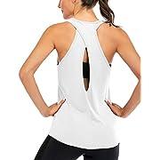 #LightningDeal Fihapyli Women's Cross Back Yoga Shirt Backless Workout Tops for Womens Racerback Tank Tops Open Back Running Muscle Tanks