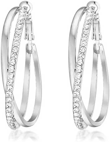 Gemini Women's 18K Gold Plated Big Round Swarovski Crystal Hoop Pierced Earrings for Women Gift Idea Gm032Rg, Size 5cm, Color Rose Gold, Yellow Gold