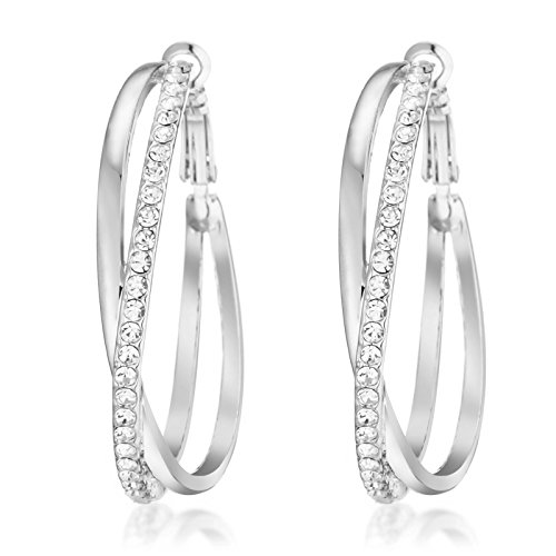 Gemini Ladies Jewerly Platinum White Gold Big Round Hoop Swarovski Crystal Pierce Earring Sz 5cm Silver
