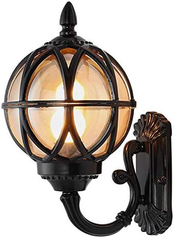 Gvqng 壁ライト 防水屋外壁ランプ壁取り付け用燭台、ヨーロッパのアンティークウォールランタンブラック/ブロンズヴィラガーデンホームウォールライトホテルアイル外壁ランプ (Color : Black)