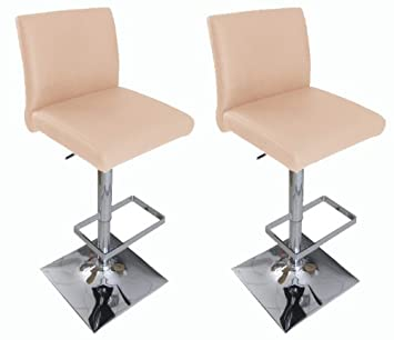 Pair of Snella Real Leather Bar Stool Cream Breakfast Kitchen Bar Stool by Lamboro
