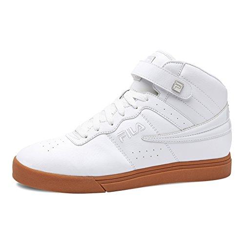Fila Men's Vulc 13 Mid Plus 2 Walking-Shoes, White/Silver/Gum, 10 D US