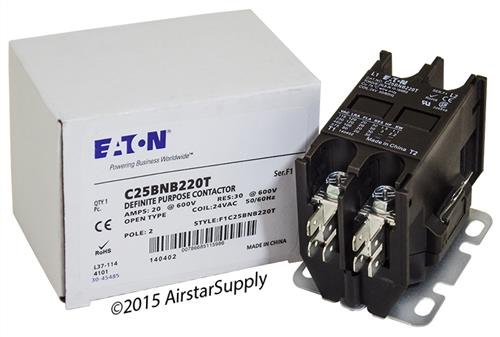 Siemens 45CG20AJ - Replaced by Eaton / Cutler Hammer C25BNB220T Contactor , 2-Pole , 20 Amp , 24 VAC Coil Voltage Amps 2 Pole 24 Coil