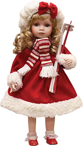 Beautiful Porcelain (Northlight Porcelain Dina Holding Skis Standing Collectible Christmas Doll, 17.5