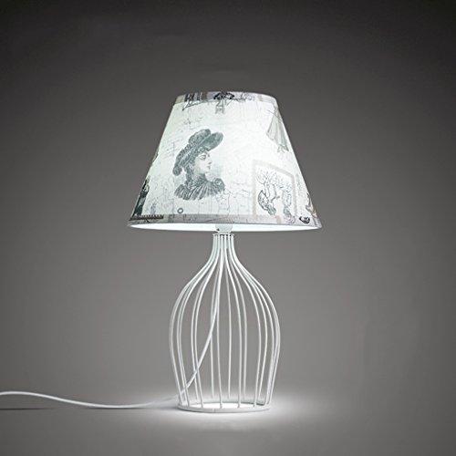 創造的なOpenworkライトボディ手塗りの布ランプシェードアメリカのLEDテーブルランプベッドルームアイアンアートベッドサイドランプ電源スイッチボタンE14 42 * 28cm(16.5 * 11インチ) (Color : D)