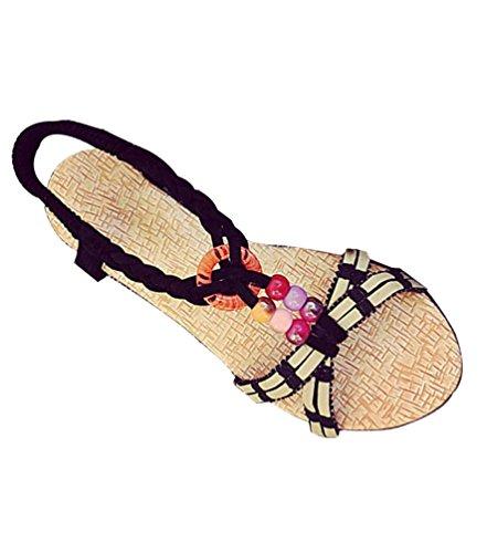 Yiiquan Mujer Sandalias Bohemia Con Cuentas Zapatillas T-Strap Sandalias De Playa Estilo1 Negro
