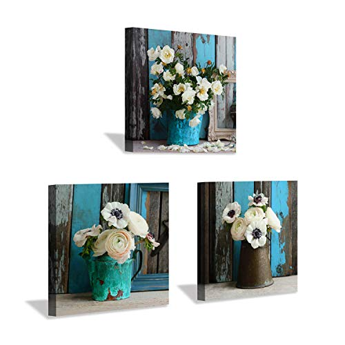 [해외]Hardy Gallery 꽃무늬 캔버스 그림 벽 아트: 침실 화장실을 위한 꽃 그림 아트워크 / Rustic Flower Canvas Wall Art: Flower Picture Botanical Art Prints for for Dining Room Bedrooms (12x12x3pcs)