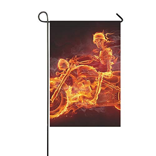 Jnseff Home Decorative Outdoor Double Sided Fire Skeleton Riding Motorcycle Garden Flag,House Yard Flag,Garden Yard Decorations,Seasonal Welcome Outdoor Flag 12 X 18 Inch Spring Summer Gift -