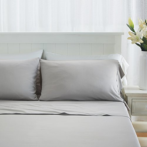 "Premium 100% Organic Bamboo Fiber 4 Piece Sheet Set, Fits Mattress up to 18"" Deep - King, Light Gray - Memorial Day Sale!!"