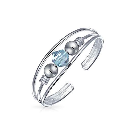 - Light Blue Crystal Bead Split Band Toe Ring For Women For Teen Adjustable 925 Sterling Silver