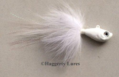Marabou Bucktail Jig - Ultra Minnow Fish Head - 2oz to 8oz - Saltwater (White, 4oz) (Ultra Jig Head)