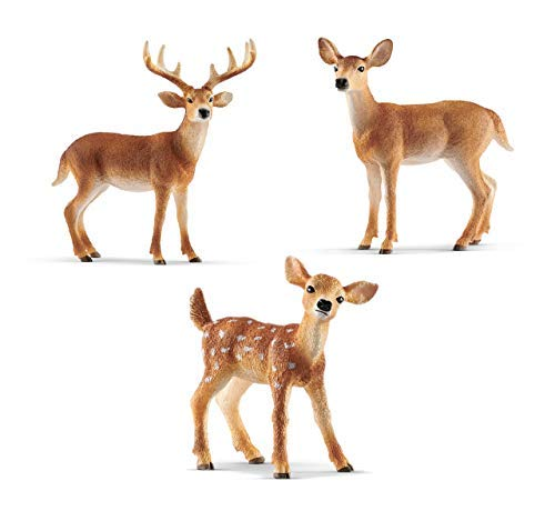 Schleich Miniature Deer Figurine Set -- White-Tailed Buck, Doe, and Fawn