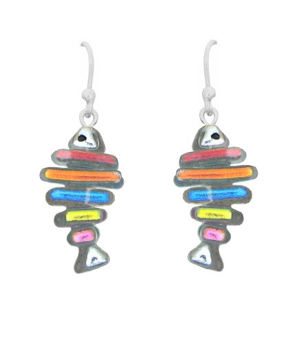 Sterling Silver Dichroic Glass Translucent and Rainbow Fish Bone Earrings (Silver Fish Bone Earrings)