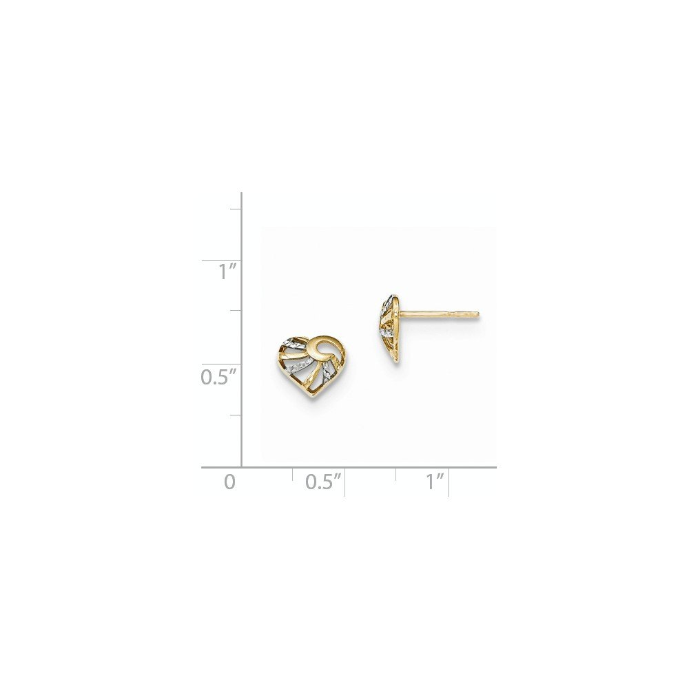 FB Jewels Solid 14K Yellow Gold And Rhodium Textured And Polished Heart Post Earrings