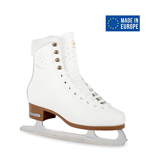 Leather Figure Skates (BOTAS - model: DIANA / Made in Europe (Czech Republic) / Comfortable Figure Ice Skates for Girls, Kids / Real Leather Upper / Higher and Wider cut / SABRINA blades / White, Junior 2)