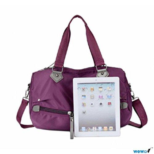 Wewod Bolso Bandolera Tela Oxford /Bolso de Viaje Grande/Bolso Shopper Nylon/Bolso de Mano Piel Mujer 40 x 25 x 25 cm  (L*H*W) (Azul marino) Púrpura